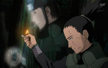 Shikamaru chora a morte de Asuma.